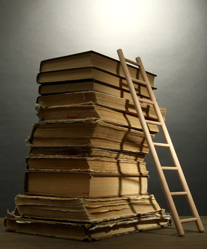 Books and ladder