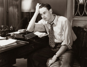Man worrying about his writing