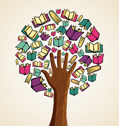 Hand in books