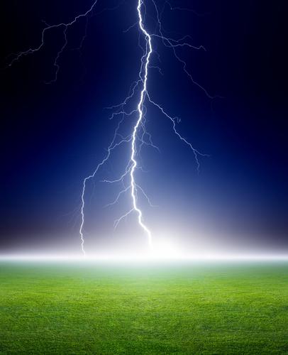 Lightning, green field