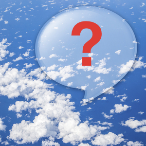 Big dialogue bubble in a blue sky with a red question mark inside.
