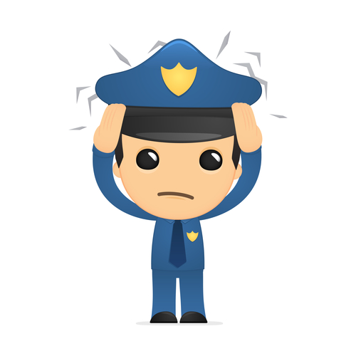 Cartoon policeman blocking social media posts