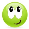 Green smiley with a quizzical smile