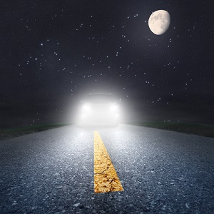 meeting an oncoming car on a dark road with a full moon overhead--navigate online pitchfests safely