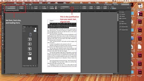 Workspace in InDesign with font and alignment formatting indicated.