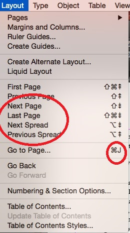 Layout menu in InDeSign