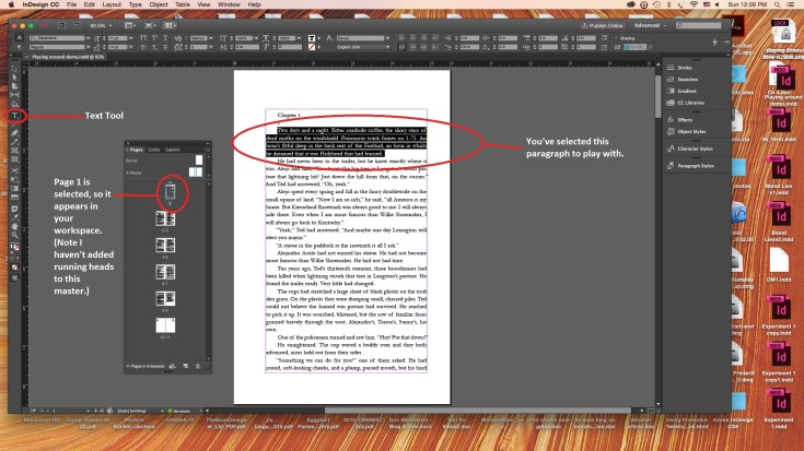 InDesign Workspace with paragraph selected