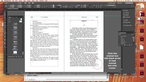 Page in InDesign with overset box circled