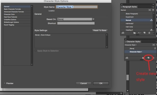 InDesign Workspace with Character Styles Open.