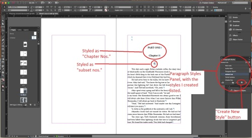 InDesign page with Paragraph Styles Panel open