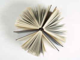 Three books fanned open from above