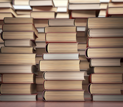 Stack of many books