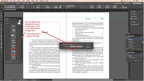 Page in InDesign with master/ running heads removed