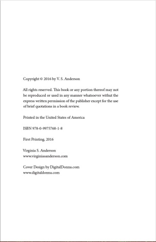 Copyright page for print-on-demand self-published book