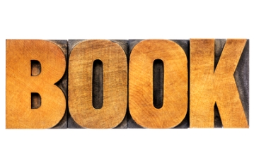 book word in letterpress wood type