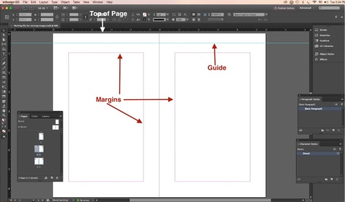 Workspace margins top of page guide
