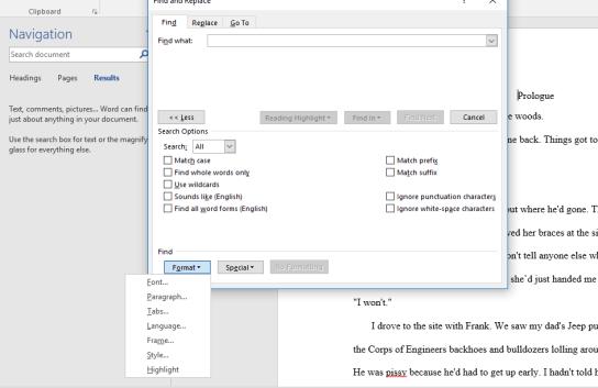 """Format"" tab open in Find Box."